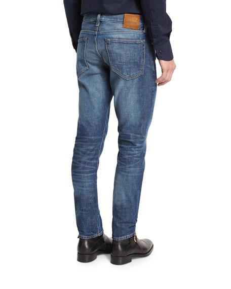 Slim-Fit High Low Selvedge Denim Jeans, Indigo
