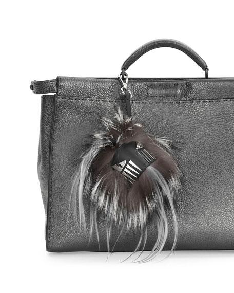 Fur Cube Monster Charm for Bag/Briefcase, Gray/White/Black