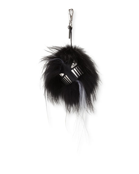 Fendi Fur Cube Monster Charm for Bag/Briefcase, Gray/White/Black