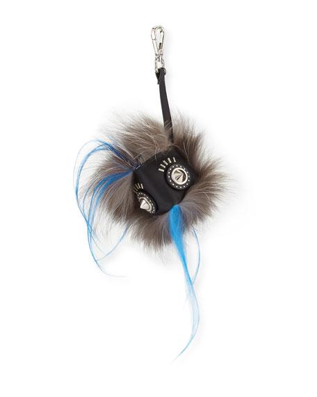 Fendi Fur Face Charm for Bag/Briefcase, Black/White