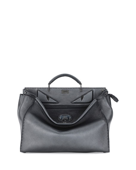 Fendi Metallic Monster Eyes Peekaboo Bag, Graphite