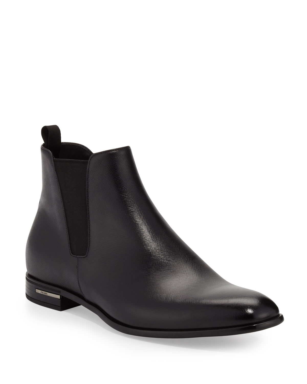 51cf6c6336c Saffiano Leather Chelsea Boots, Black