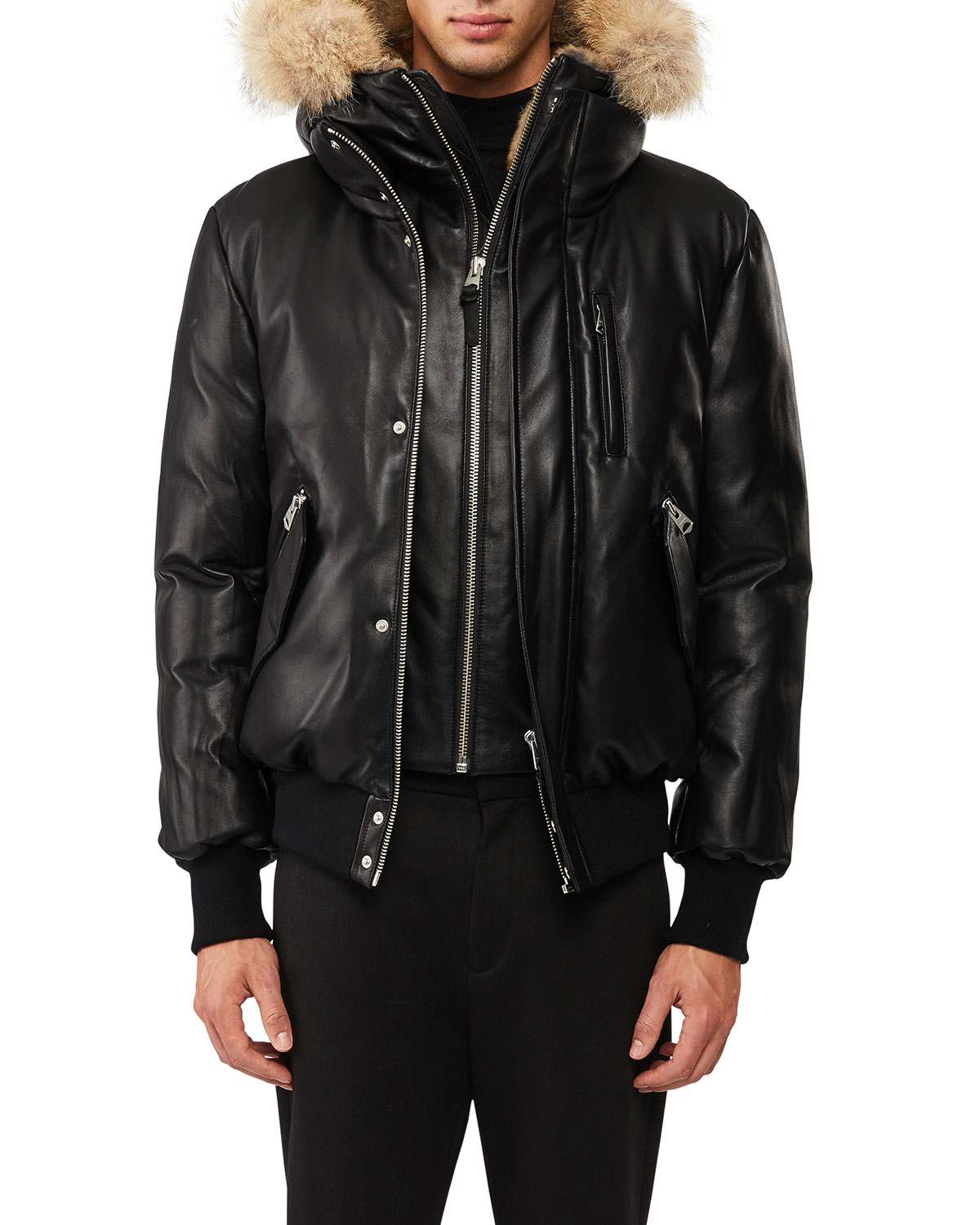 118f0375b Glen Leather Down Bomber Jacket with Fur Trim