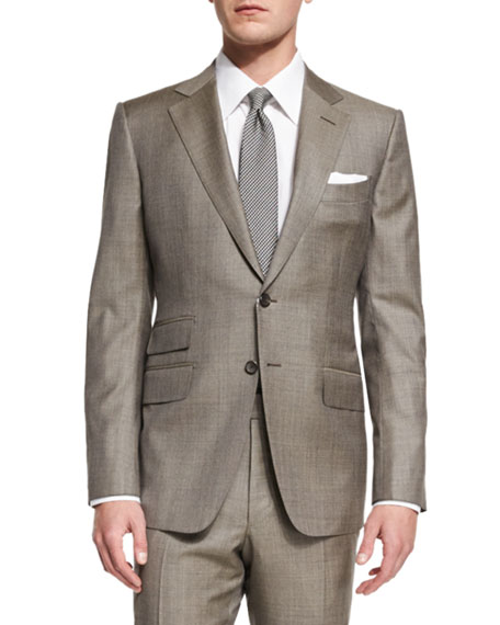 O'Connor Base Sharkskin Two-Piece Suit, Tan
