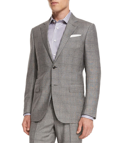 Plaid Wool Two-Piece Suit, Black/White