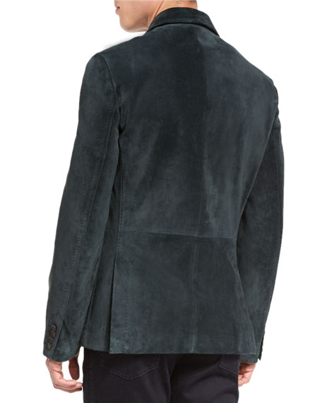 Suede Two-Button Blazer, Pine