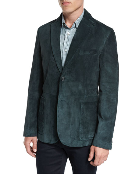 Brioni Suede Two-Button Blazer, Pine