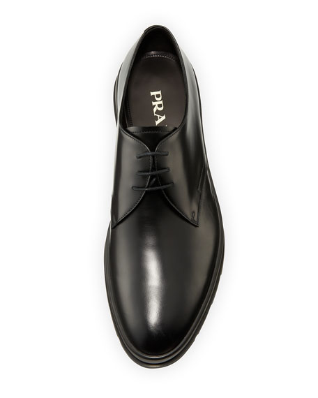 Leather Plain-Toe Derby Shoe, Black