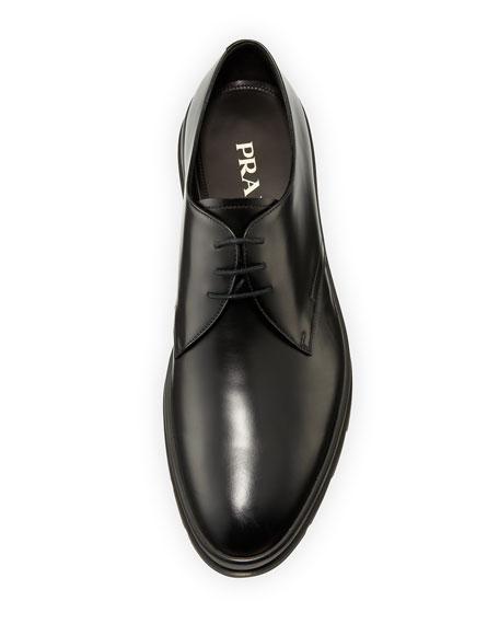 Prada Leather Plain-Toe Derby Shoe, Black