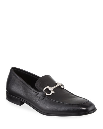 Men's Textured Calfskin Gancini Loafer, Black