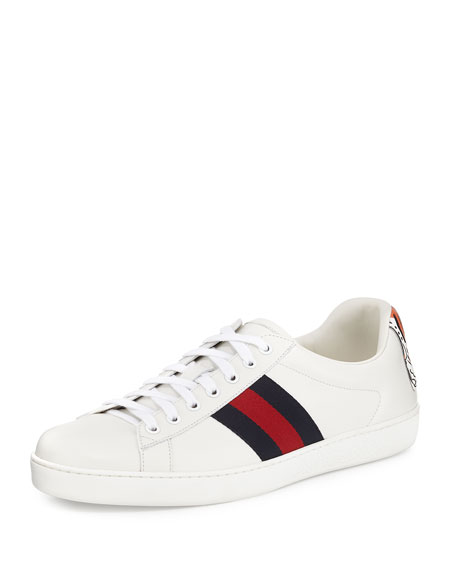 Gucci New Ace Hanging Tiger Leather Low-Top Sneaker,