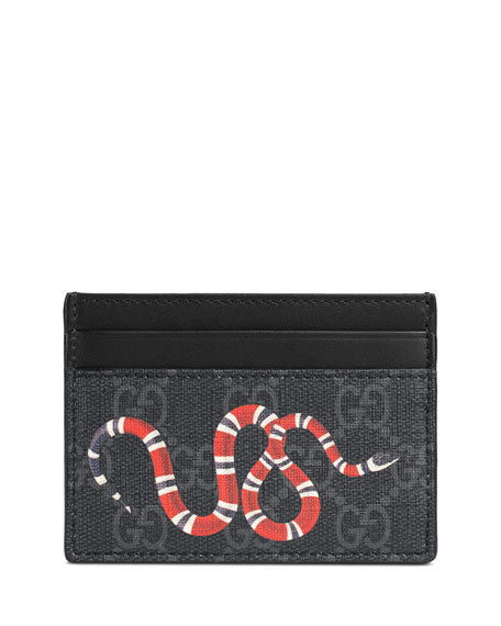 Gucci Bestiary Snake-Print GG Supreme Card Case and
