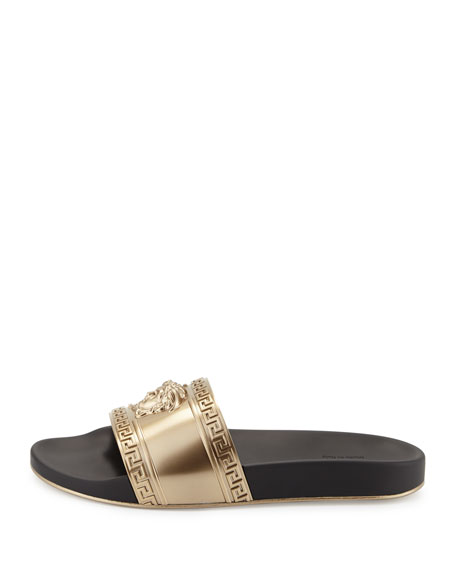 Metallic Medusa-Head Slide Sandal, Black/Gold