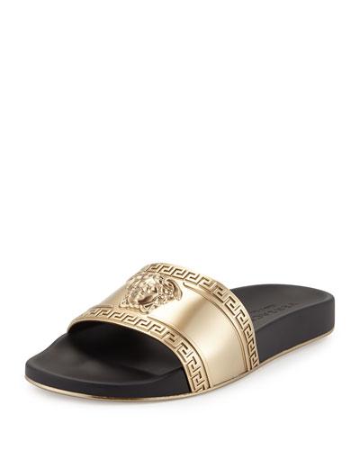 Metallic Medusa-Head Slide Sandal, Black/Gold