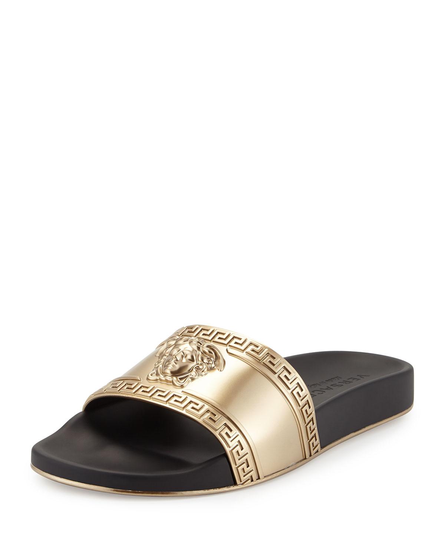 a11d9a5a260e9 Versace Metallic Medusa-Head Slide Sandal