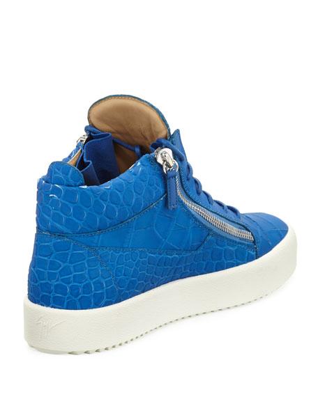 Men's Crocodile-Embossed Leather Mid-Top Sneakers