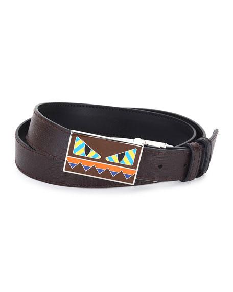 Striped Monster-Face Leather Belt