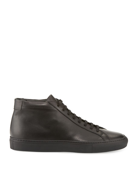 High Top Basic Leather Projects Men's Common SneakersBlack 0nmwvN8O