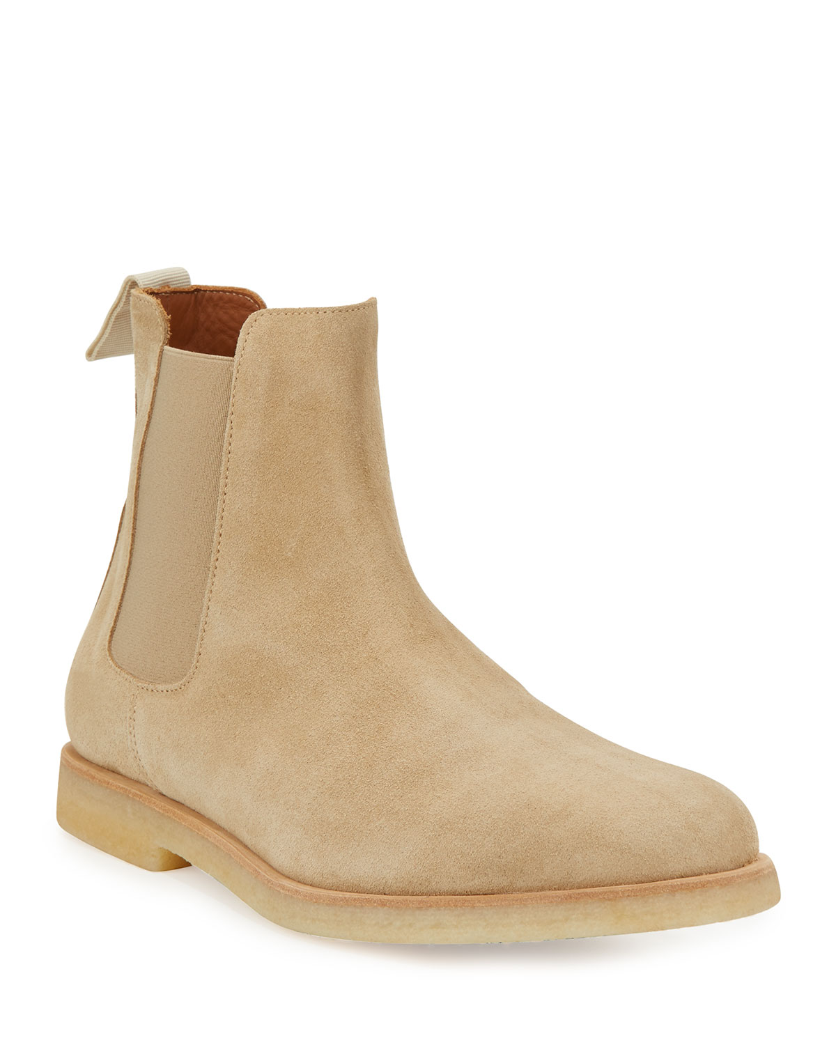 7977ead8bb Common Projects Men's Calf Suede Chelsea Boot, Tan | Neiman Marcus