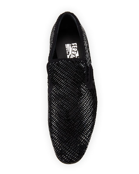 Men's Crystal-Studded Formal Loafer, Black