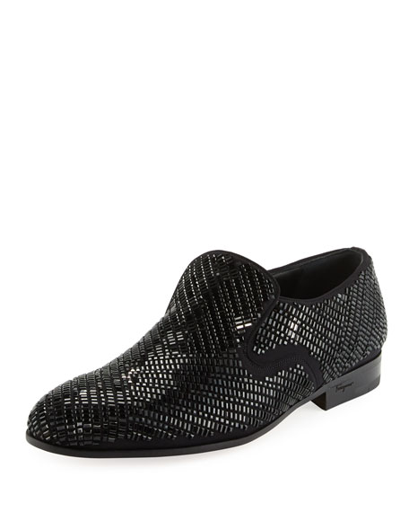 Salvatore Ferragamo Men's Crystal-Studded Formal Loafer, Black