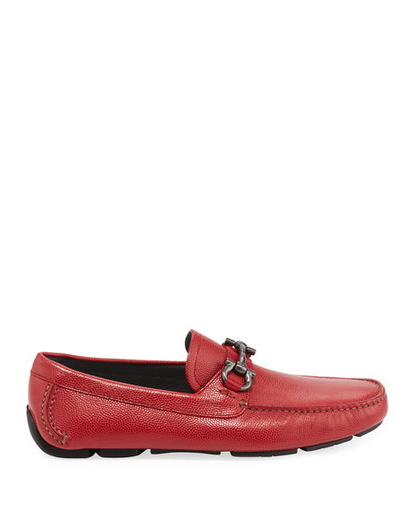 Men's Leather Gancini Driver, Red