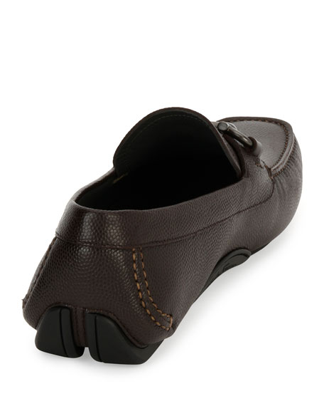 Salvatore Ferragamo Men's Pebbled Leather Gancini Driver, Chocolate Brown