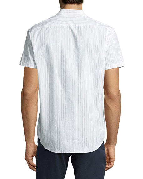 Zack S Shift Grid Short-Sleeve Sport Shirt, White