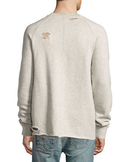 Rocco Raglan Distressed Sweatshirt, Habitude Gray