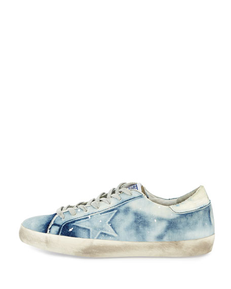 Men's GGDB Superstar Bleached Denim Sneaker, White/Blue