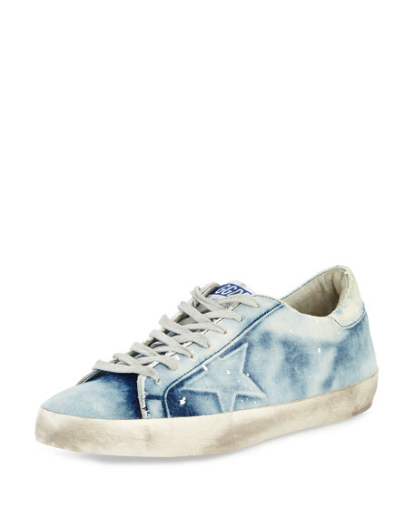 Golden Goose Men's GGDB Superstar Bleached Denim Sneaker,