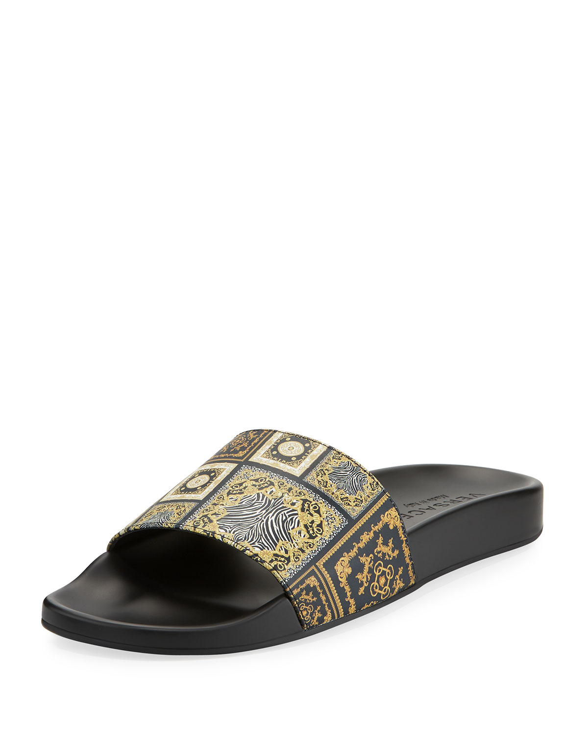 1667adb8f6531d Versace Men s Baroque Tile Signature Slide Sandal