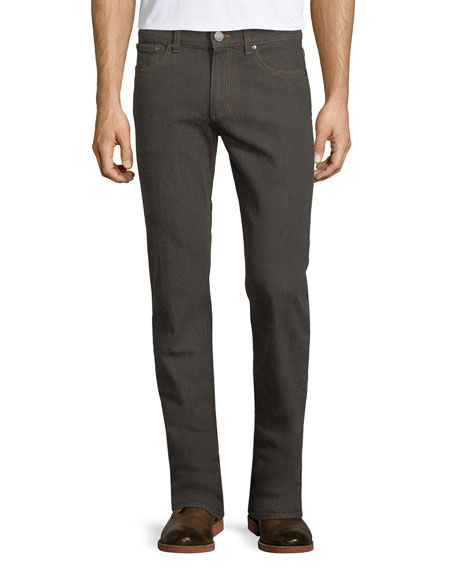 Ermenegildo Zegna Melange Straight-Leg Jeans, Dark Brown/Gray