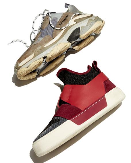 Men's Multi-Material High-Top Trainer Sneaker