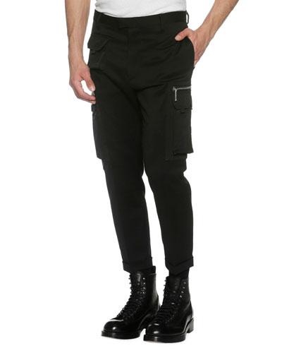 Slim-Fit Cargo Trousers, Black