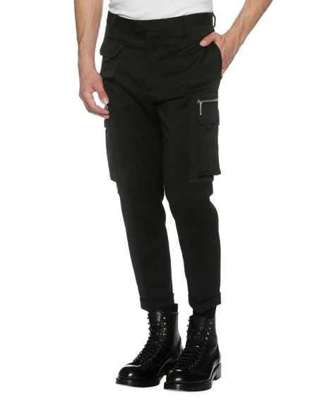 Slim-Fit Cargo Trousers, Black