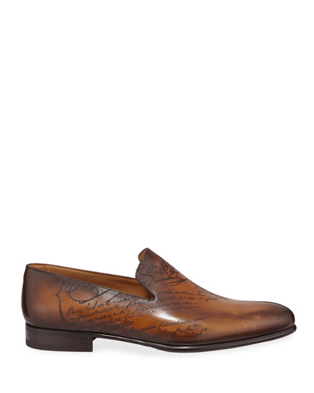 Image 3 of 4: Berluti Scritto Leather Slip-On Dress Shoe