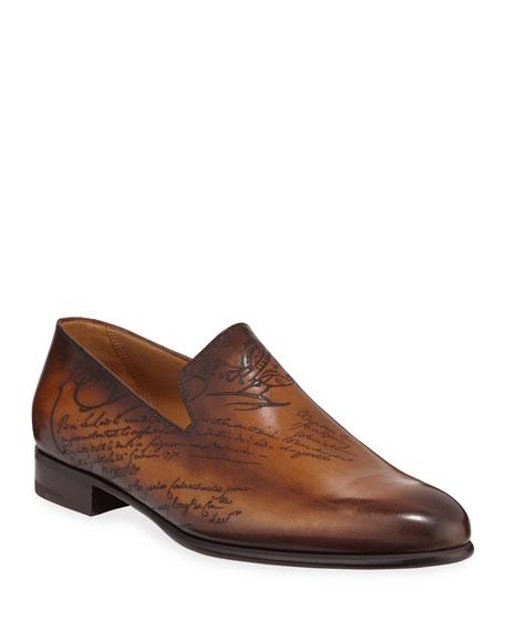 Berluti Scritto Leather Slip-On Dress Shoe