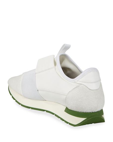 Men's Race Runner Mesh & Leather Sneakers, White