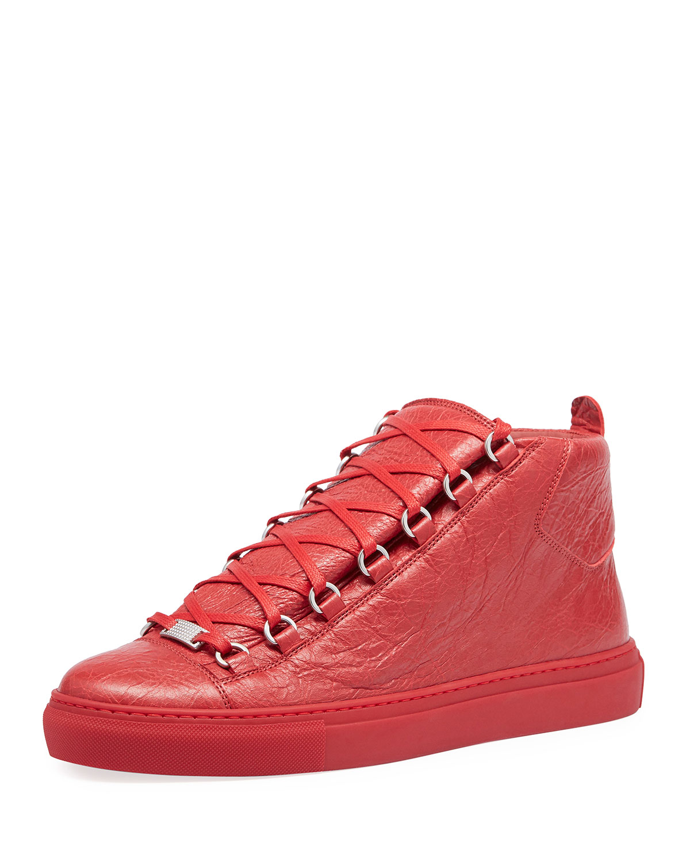 1314d6c26fbb Balenciaga Men s Arena Leather Mid-Top Sneakers