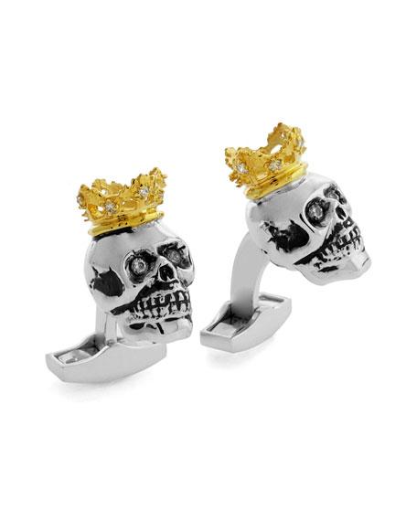 Tateossian King Skull Cuff Links w/Golden Plating
