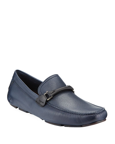 Men's Textured Calfskin Gancini Driver, Navy/Black