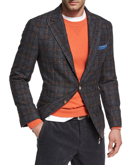 Glen Plaid Virgin Wool Sport Jacket, Dark Gray