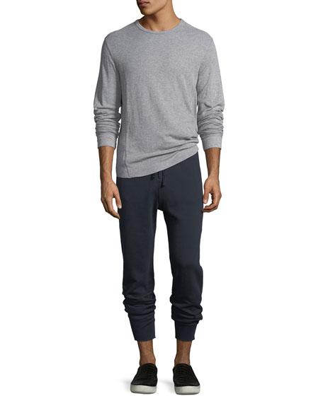Double-Knit Long-Sleeve Crewneck T-Shirt