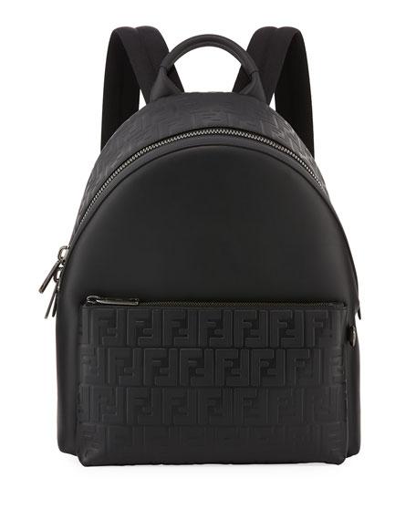 Fendi Signature Leather Logo Backpack