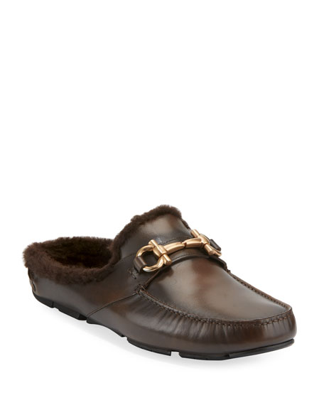 Salvatore Ferragamo Men's Fur-Lined Driving Mule