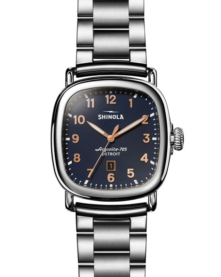 Men's The Guardian Men's 41.5mm x 43mm Polished Stainless Steel Watch with Midnight Blue Dial