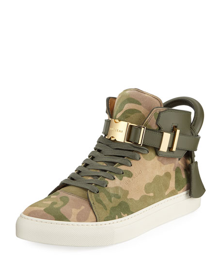 Buscemi Men's Camo-Print High-Top Sneakers