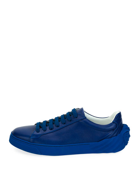 Men's Leather Low-Top Sneakers, Blue