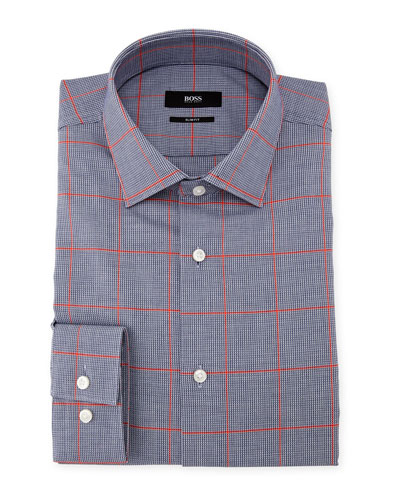 Slim-Fit Windowpane Dress Shirt